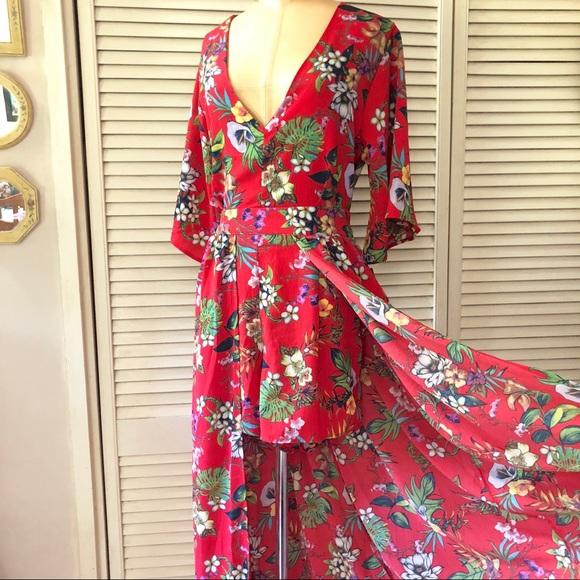 e22933b23c24 Red Floral Romper Dress XL
